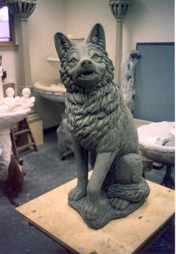 Muscles, fur texture along with facial details all come together to create the finished Wolf statue.