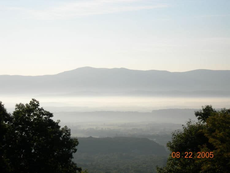 Hazy Shenandoah Valley in the morning.  The background is Skyline Drive.